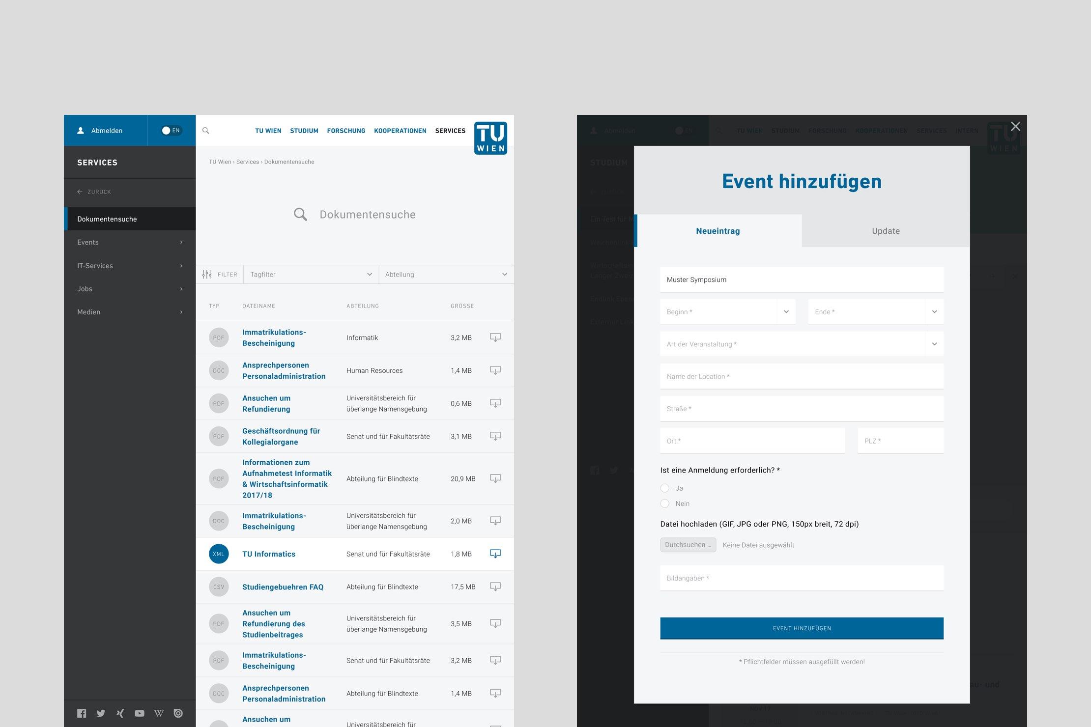 Screenshots der TU Wien Website tabellarische Ansicht eines Dokumentenarchivs und Eingabemaske für die Erstellung eines neue Events