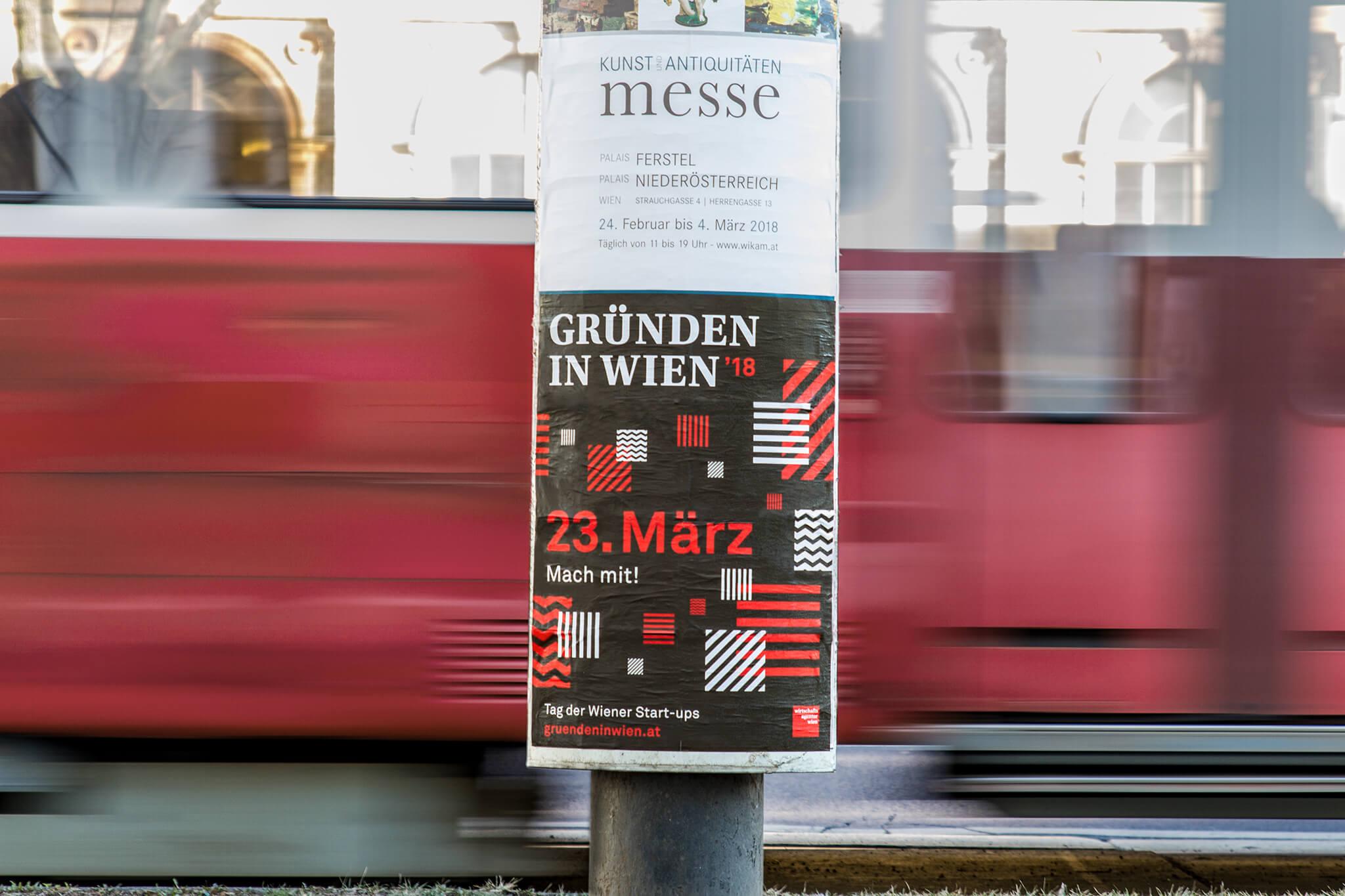 Gründen in Wien Poster mit schwarz-rot-weißem Key Visual