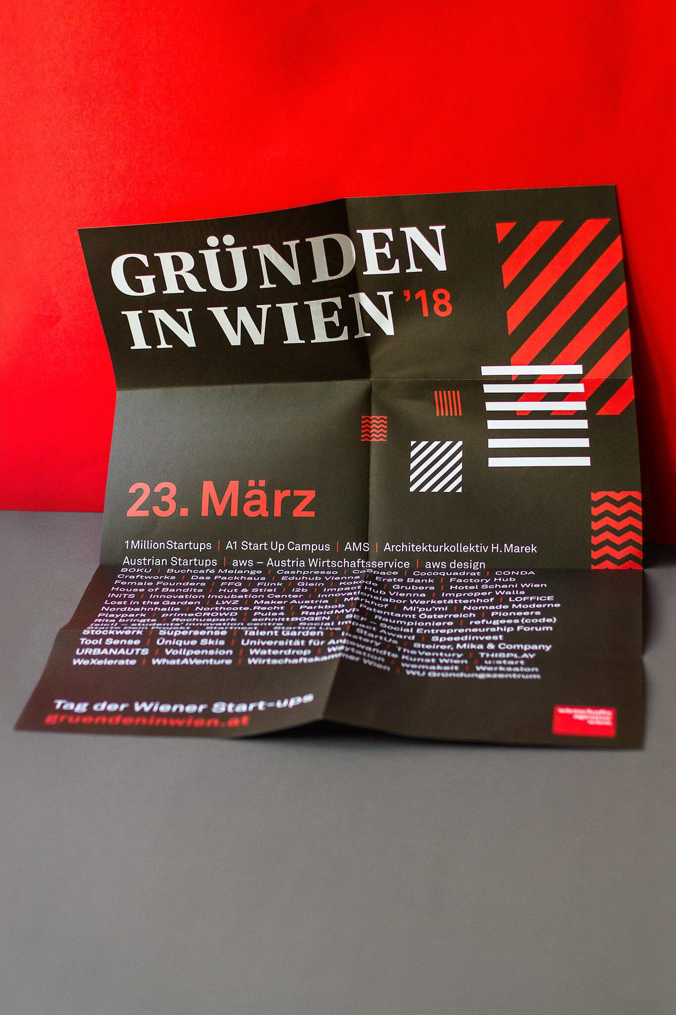 Gründen in Wien Poster mit schwarz-rot-weißem Pattern
