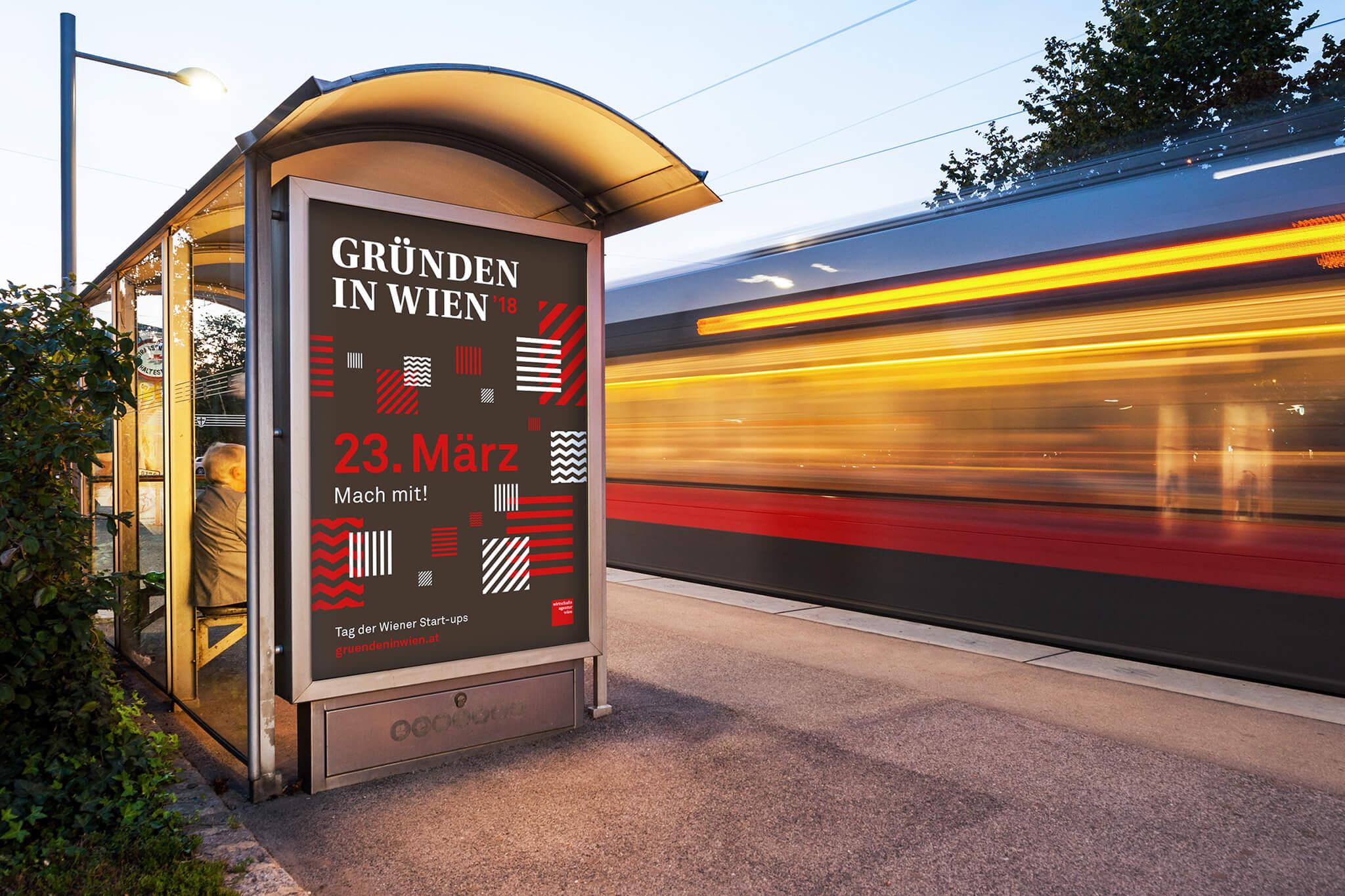Gründen in Wien Poster mit schwarz-rot-weißem Pattern als City-Light