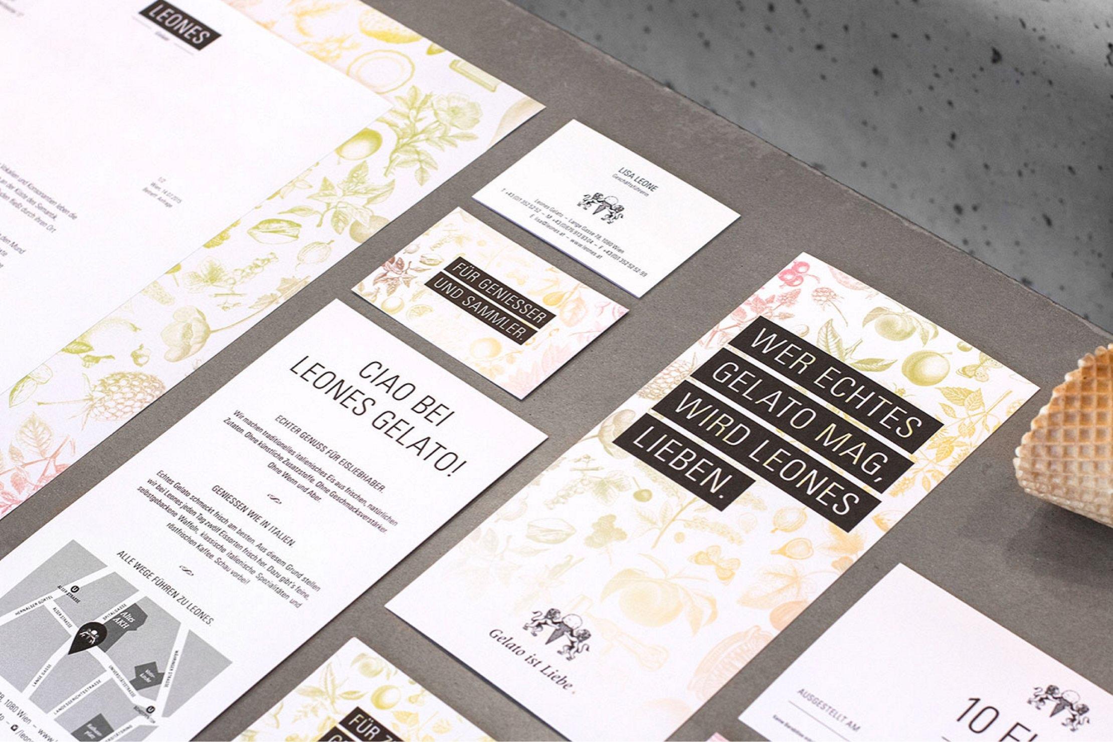 Leones Drucksorten: Visitenkarten, Briefpapier, Folder, Einladungen und Gutscheine