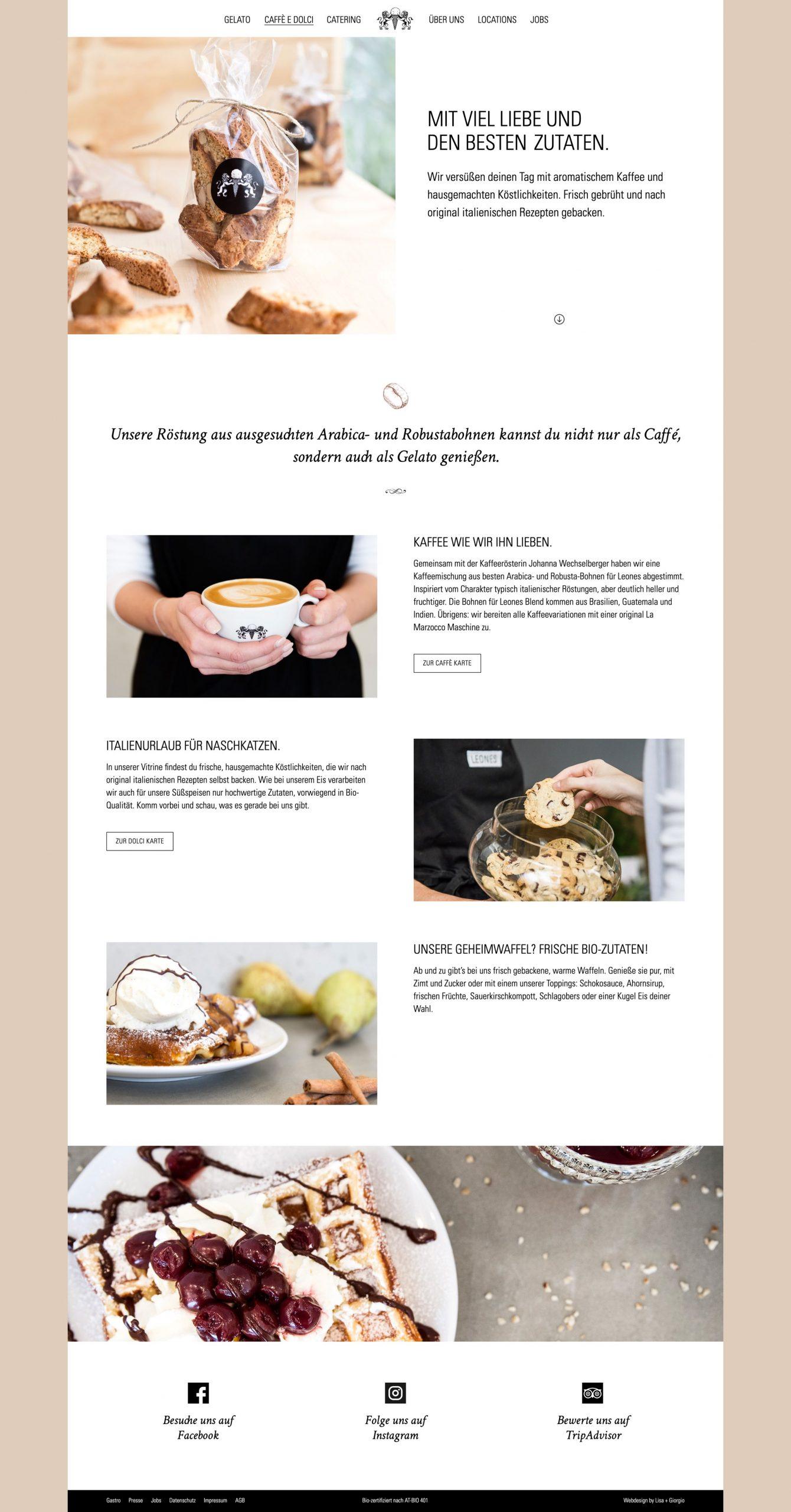 Leones Website Cafè e Dolci