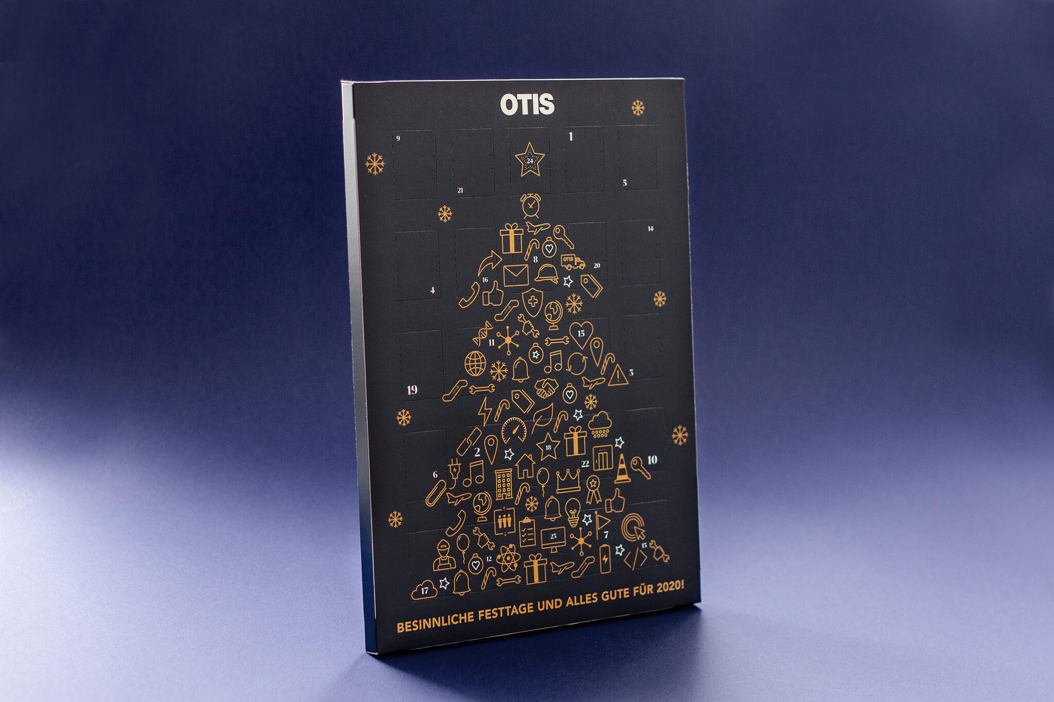 Otis Adventkalender mit Tannenbaum bestehend aus Otis Symbolen