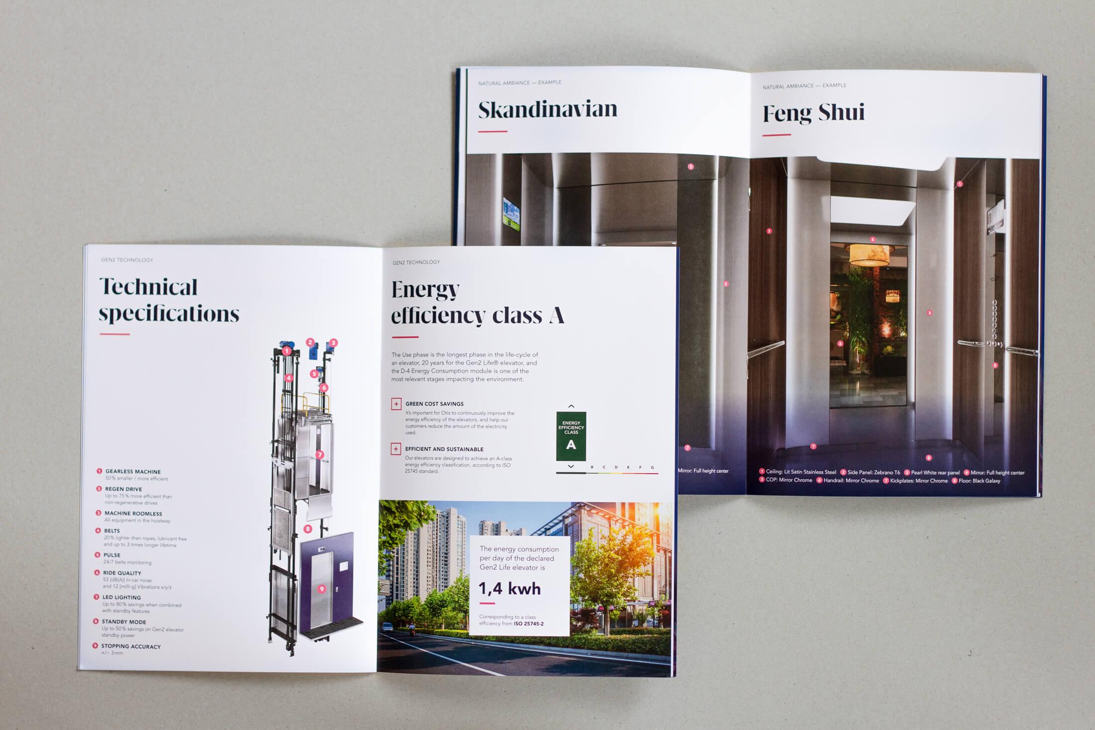 Zwei Doppelseiten Otis Editorial Design von technischen Spezifikationen, Energie Effizienz und Design