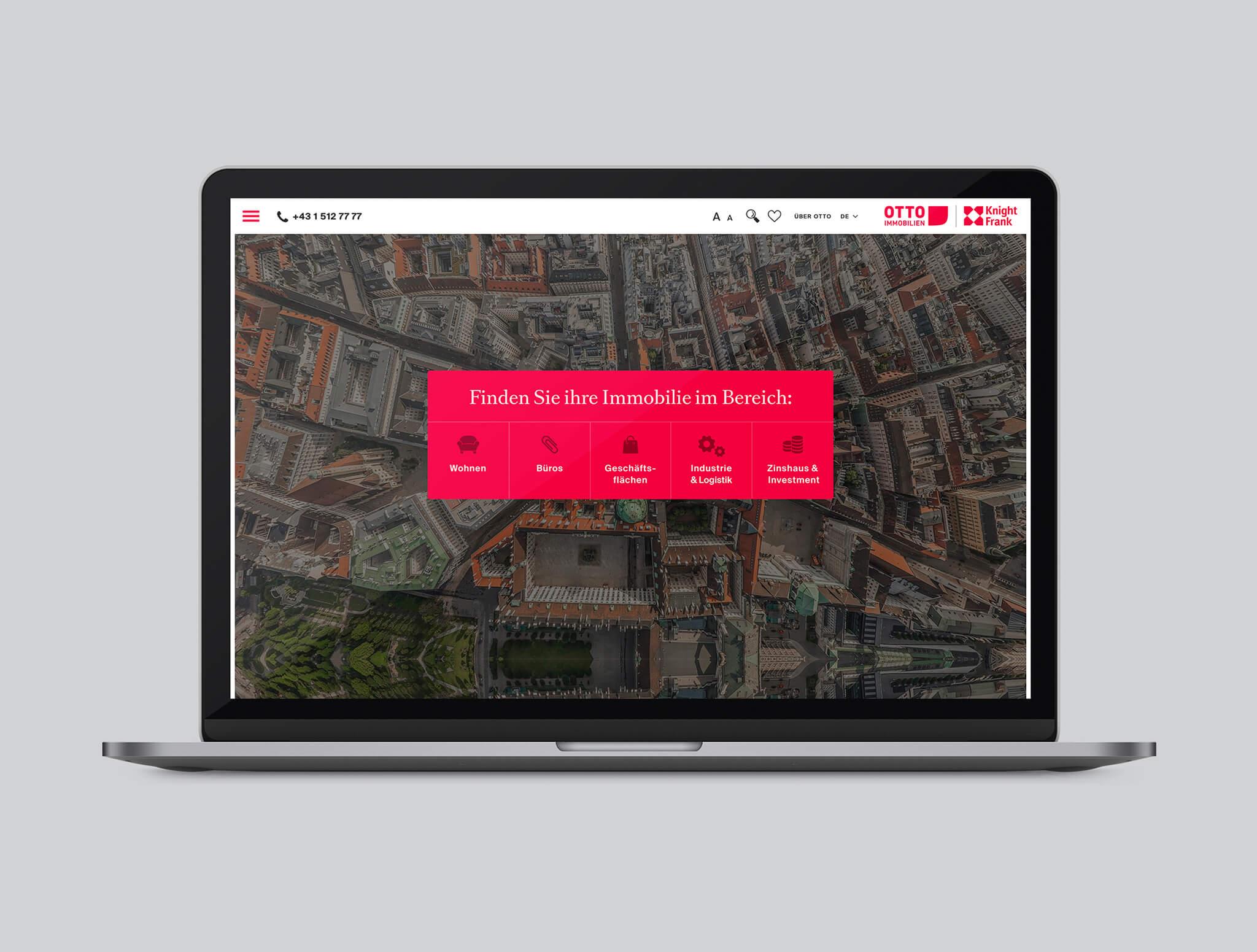 Otto Immobilien Website Startseite mit Icons