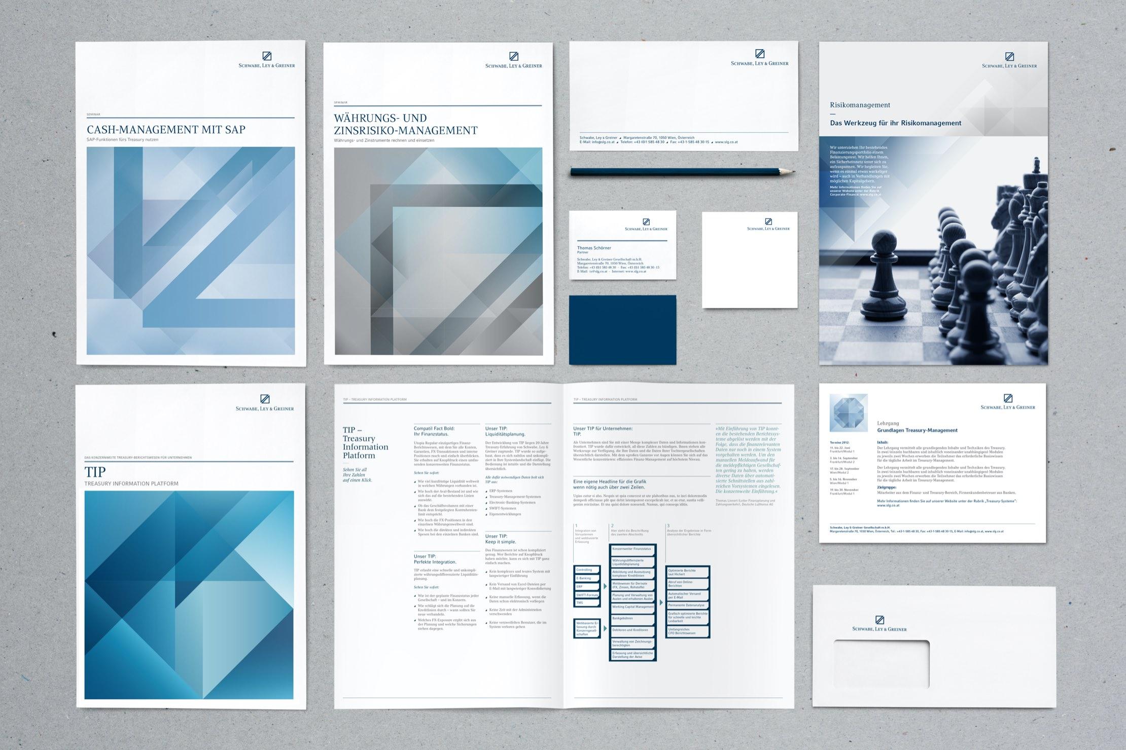 Schwabe, Ley und Greiner Durcksorten Magazine, Broschüren, Visitenkarten, Briefpapier, Kuverts und Einladung