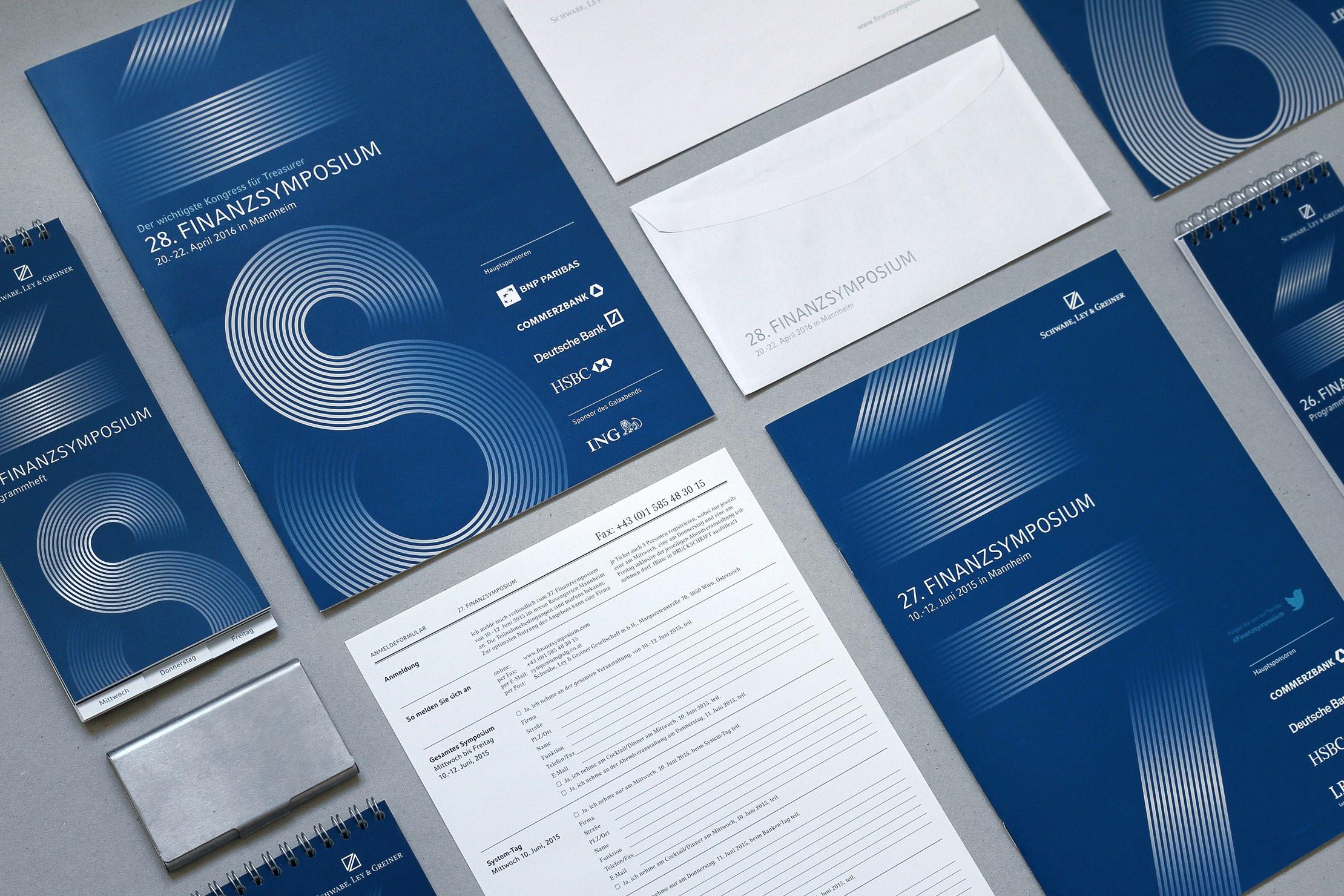 Finanzsymposium Drucksorten Folder, Kalender, Programmheft, Anmeldeformular, Kuvert