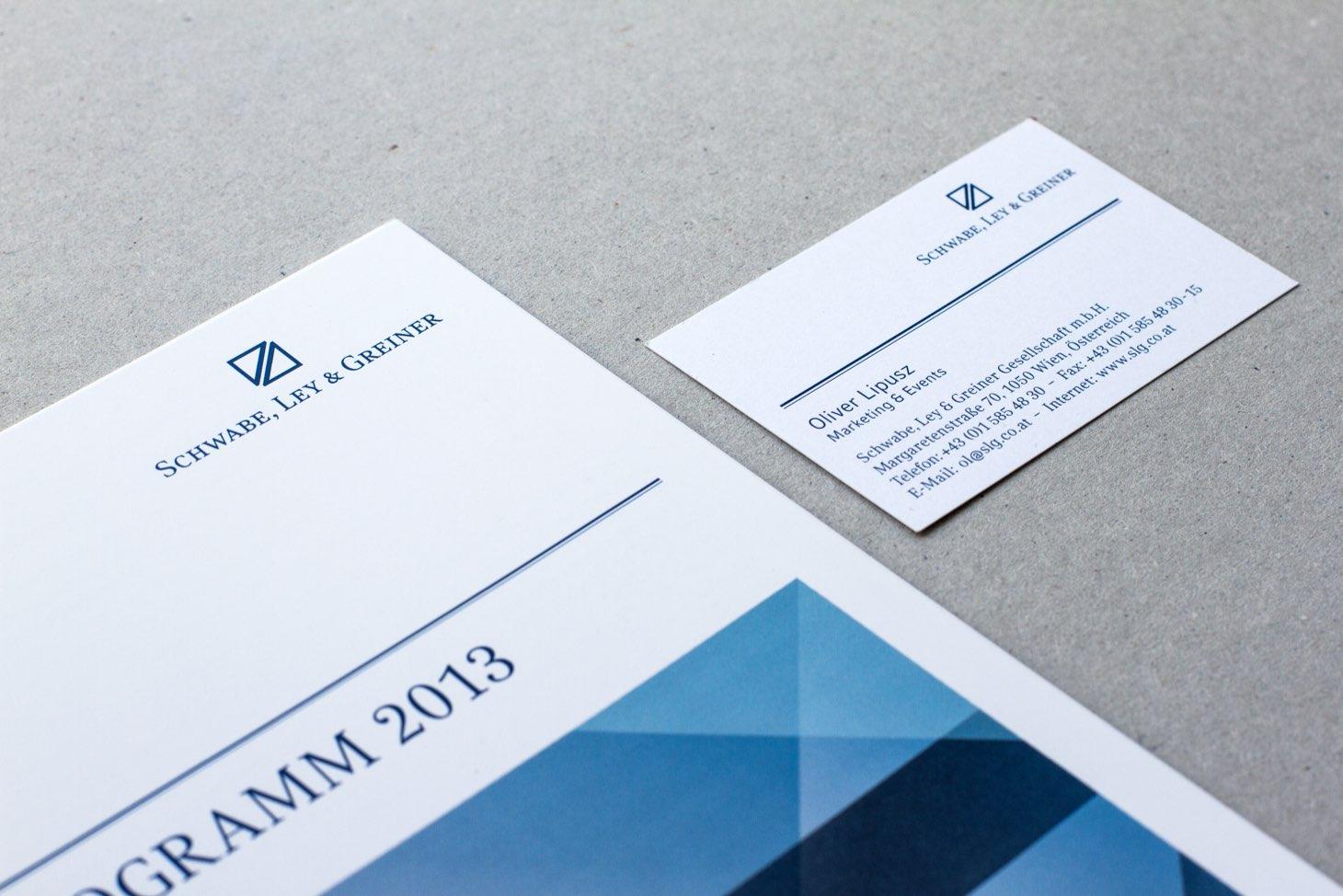 Schwabe, Ley und Greiner Folder und Visitenkarte in neuem Corporate Design