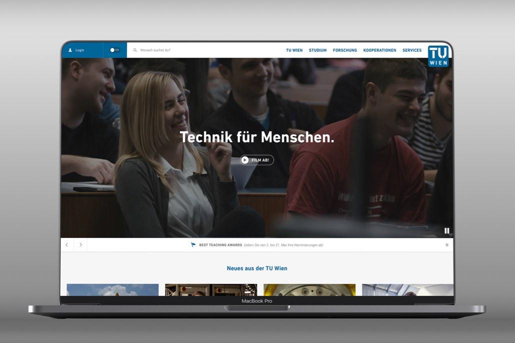 Mockup der TU Wien Website auf einem Laptop
