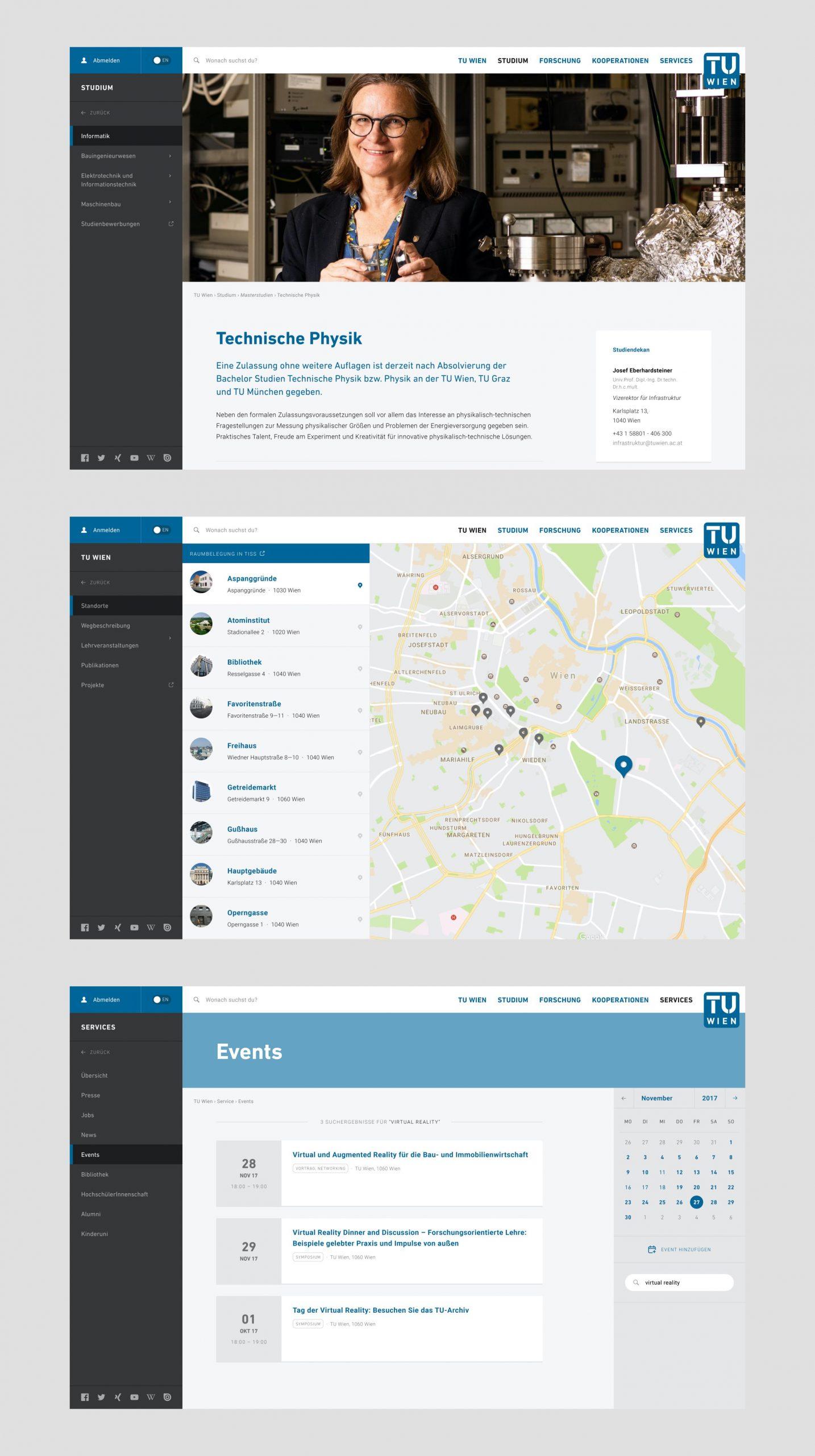 Drei Screenshots der TU Wien Website Informationsseite Technische Physik, Lageplan der TU Wien Gebäude und Event-Übersichtsseite